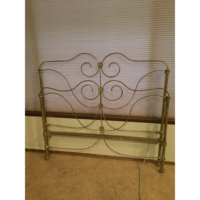1920s Antique Victorian Full Iron Bed Headboard and Footboard - 2 Pieces For Sale - Image 5 of 8