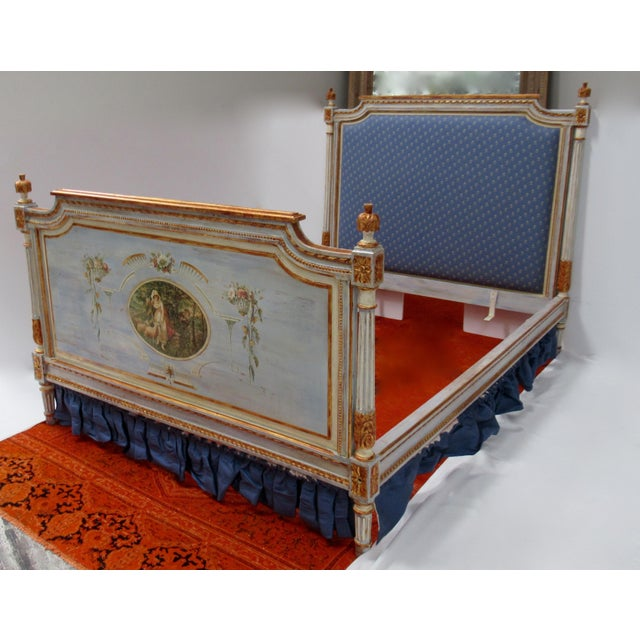 Vintage 19th. Century French Napoleonic Parcel Gilt Painted Full Size Bedframe For Sale - Image 13 of 13