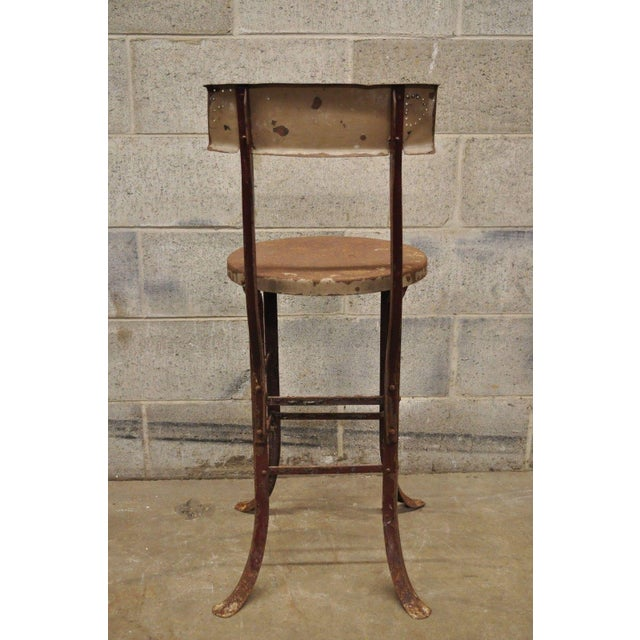 Antique Steel Metal Industrial Drafting Architect Work Stool For Sale - Image 4 of 12