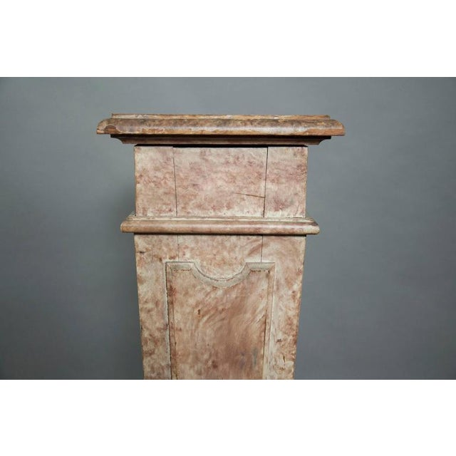 European Faux Marble Wood Pedestal For Sale In Boston - Image 6 of 8