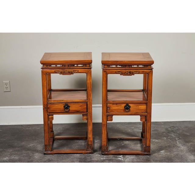 18th Century Chinese Cedar Tea Tables - a Pair For Sale - Image 4 of 10