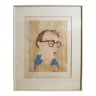 1980s Woody Allen Portrait Woodcut Print For Sale