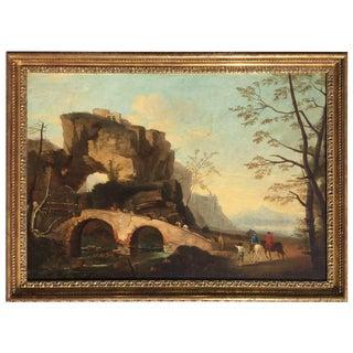 Italian Landscape Oil Painting 1790 For Sale