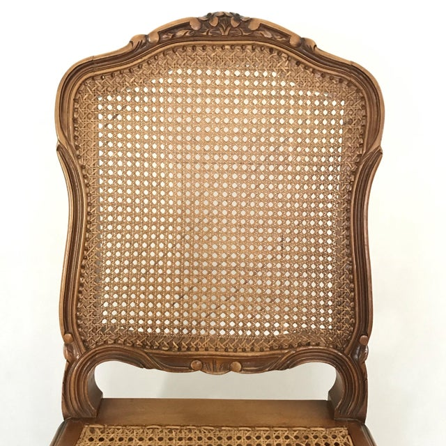 1900 - 1909 Classic Antique Set of 6 Louis XV Carved Walnut & Caned Dining Chairs For Sale - Image 5 of 13
