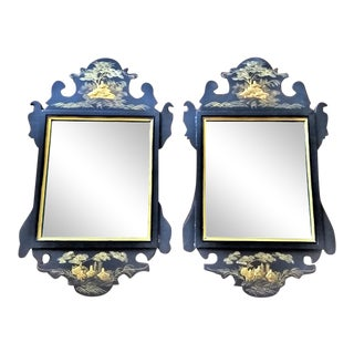 Vintage Chinoiserie Mirrors in Black and Gold - a Pair For Sale