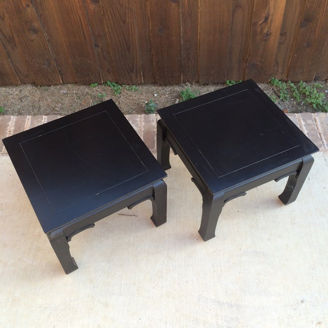 Black Chinoiserie Side Tables - A Pair - Image 2 of 7