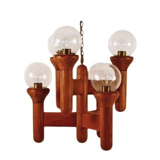 Mid-Century Modern Six Arm Oak Cactus Chandelier For Sale