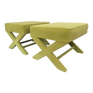 1970s Vintage Plush Green X Bench- a Pair For Sale