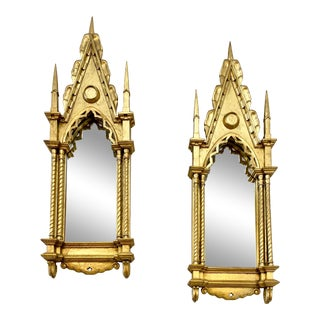 1900s Italian Neo-Gothic Gilded Mirrors - a Pair For Sale