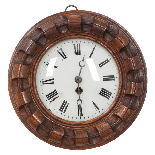 Ceramic French 19th Century Hand Carved Oak Wall Clock For Sale - Image 7 of 7