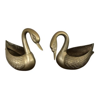 Vintage Brass Swan Planters - a Pair