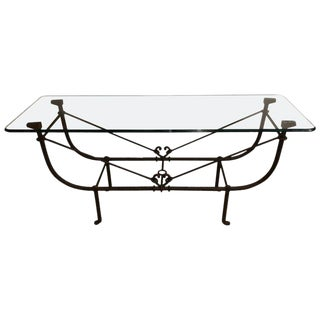 Large Metal Diego Giacometti Style Console or Sofa Table Metal and Glass For Sale