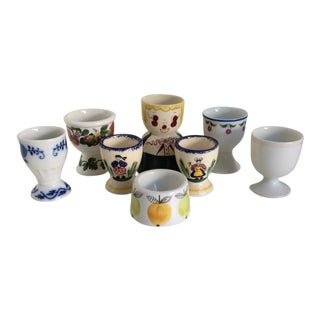 Vintage Collection of Assorted Egg Cups Porcelain and Ceramic - Set of 8