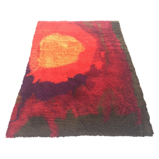 "Mid-Century Abstract RYA Shag Rug - 7'10"" X 10'10"" For Sale"