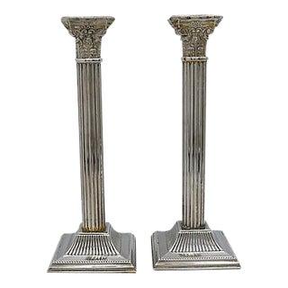 Antique English Column Candlesticks - A Pair