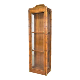 1970s Weiman Hollywood Regency Campaign Style Faux Bamboo Narrow Lighted Display Cabinet For Sale