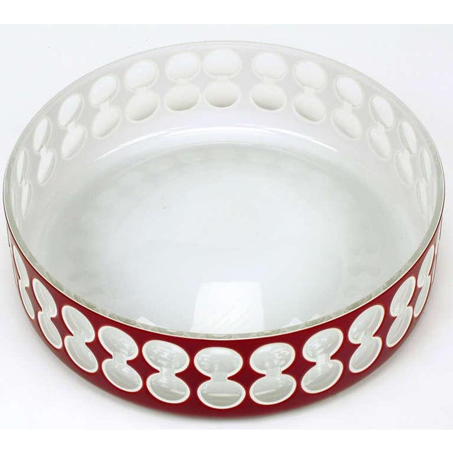 Modern Hungarian Hand-Cut Red and White Cased Glass Bowl For Sale - Image 3 of 6