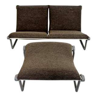 Mid-Century Modern Hannah Morrison Knoll Two-Seat Sling Sofa & Ottoman - Set of 2 For Sale