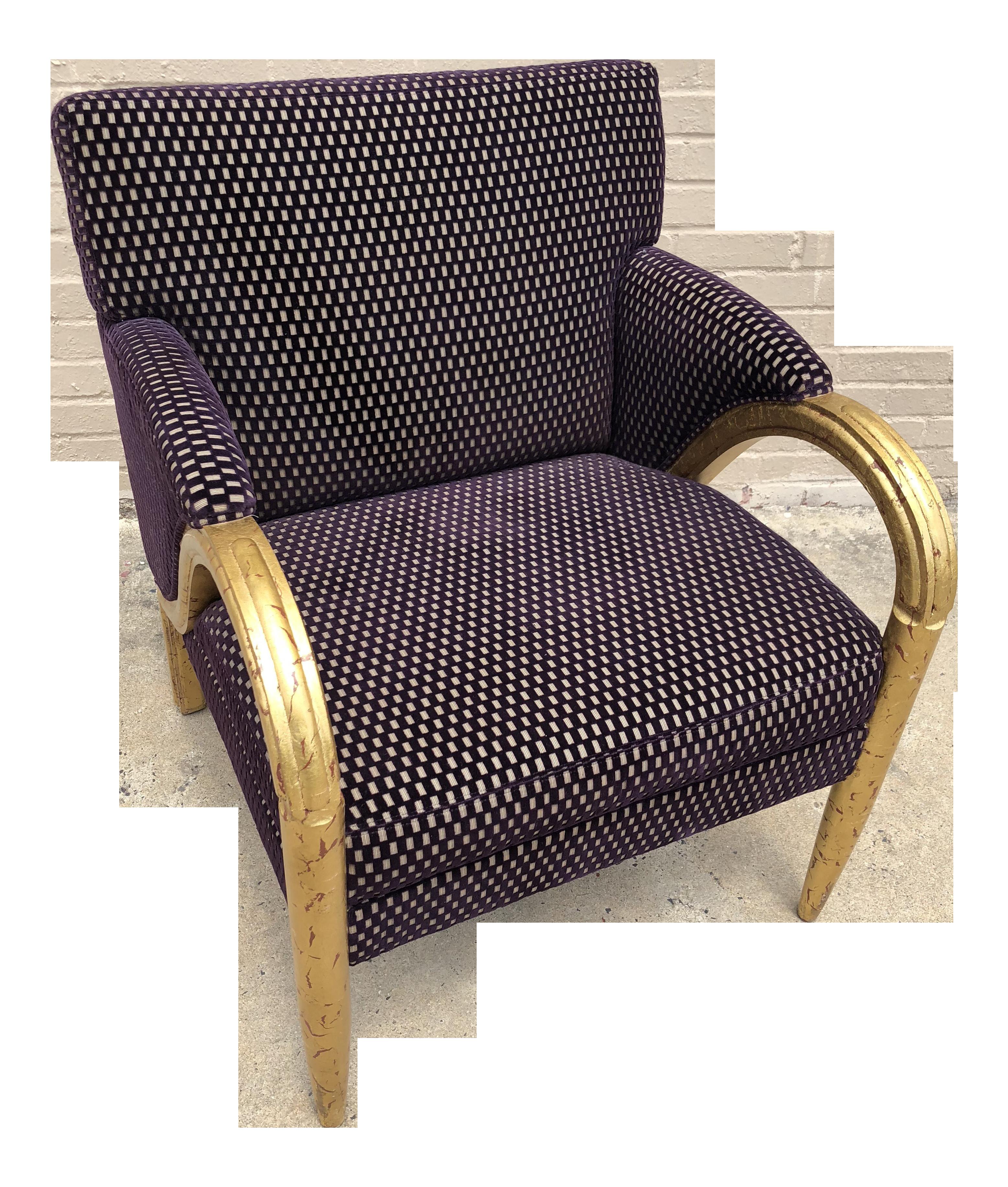 Larry Laslo For Directional Purple Velvet Decorator Club Chair