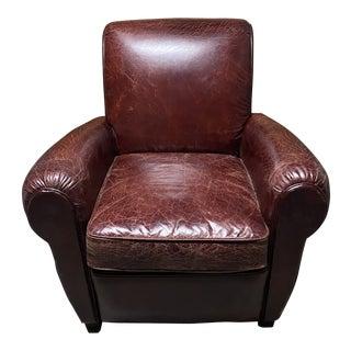 Restoration Hardware Parisian Leather Club Chair For Sale