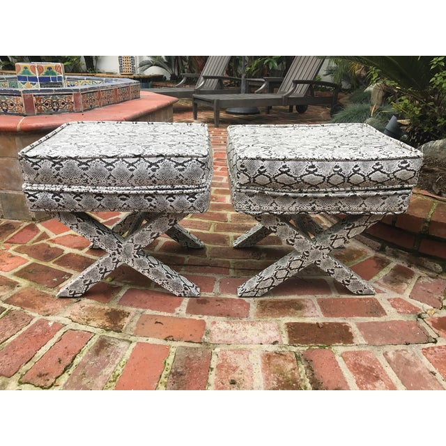 X-Frame Snake Skin Stools - A Pair - Image 2 of 7