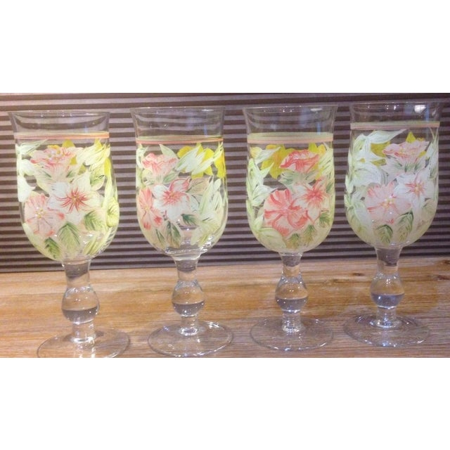 Set of 4 Vintage Crystal Goblet Glasses Floral Design Hand Decorated with yellow, Pink and white enamel paint 12 ounce...