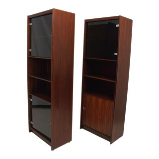 Danish Modern Rosewood Bookcases With Doors, Denmark 1960s - a Pair For Sale
