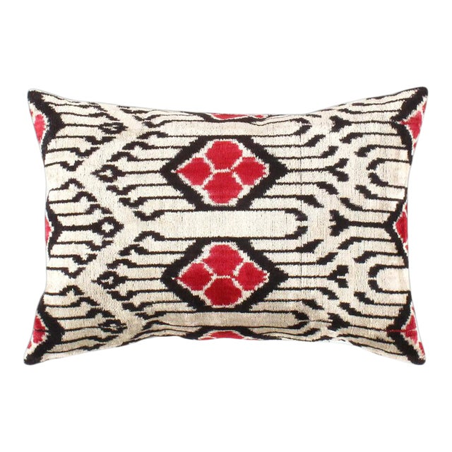 Pasargad Oasis Collection Silk Velvet Ikat Pillow For Sale