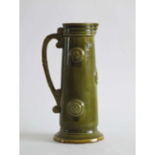 French Green Pitcher W/ Medallions - Image 5 of 6