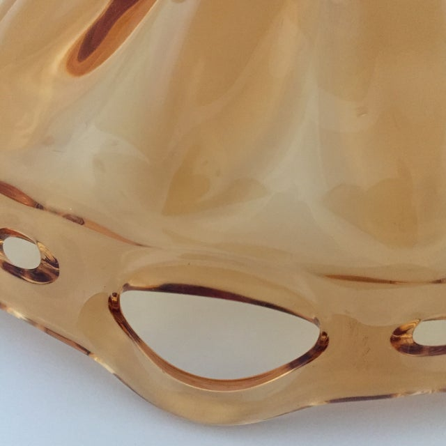 Amber Vintage Amber Lace Edge Glass Bowl For Sale - Image 8 of 12