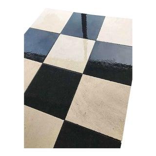 Black and White Limestone Checkerboard Flooring