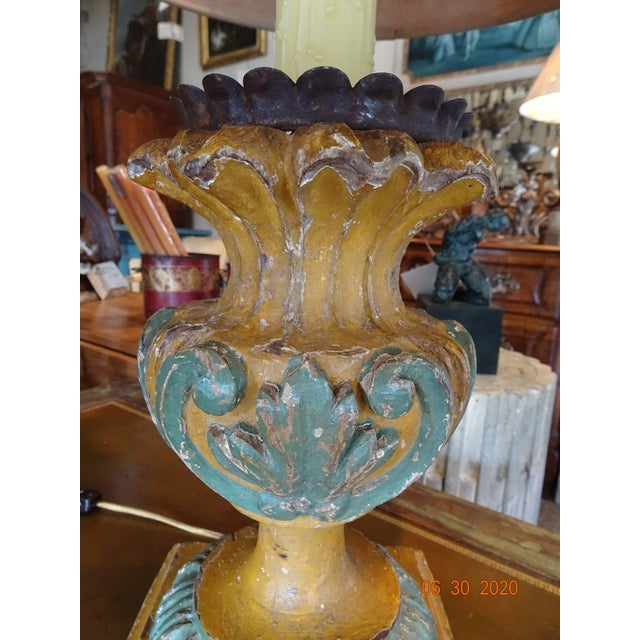 Mid 19th Century 19th Century Italian Hand Carved Acanthus Motif Lamps - a Pair For Sale - Image 5 of 10
