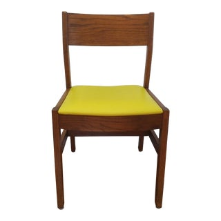 Mid-Century Danish Modern Bright Yellow Vinyl & Wood Chair For Sale