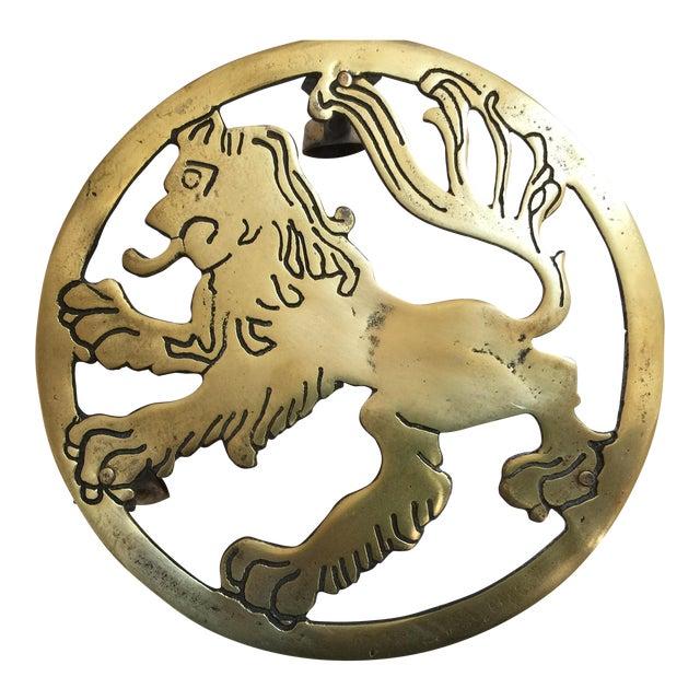 English Brass Lion Trivet For Sale