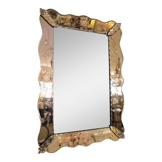 Shapely Italian 1930s Mirror With Etched Peach-Colored Surround For Sale