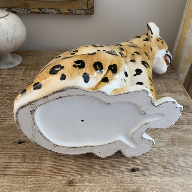Vintage Italian Hollywood Regency Style Ceramic Leopard For Sale In New York - Image 6 of 7