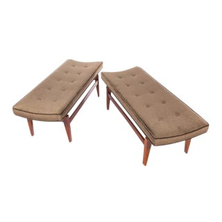 1960S VINTAGE JENS RISOM CANTILEVERED WALNUT AND MOHAIR BENCHES- A PAIR For Sale
