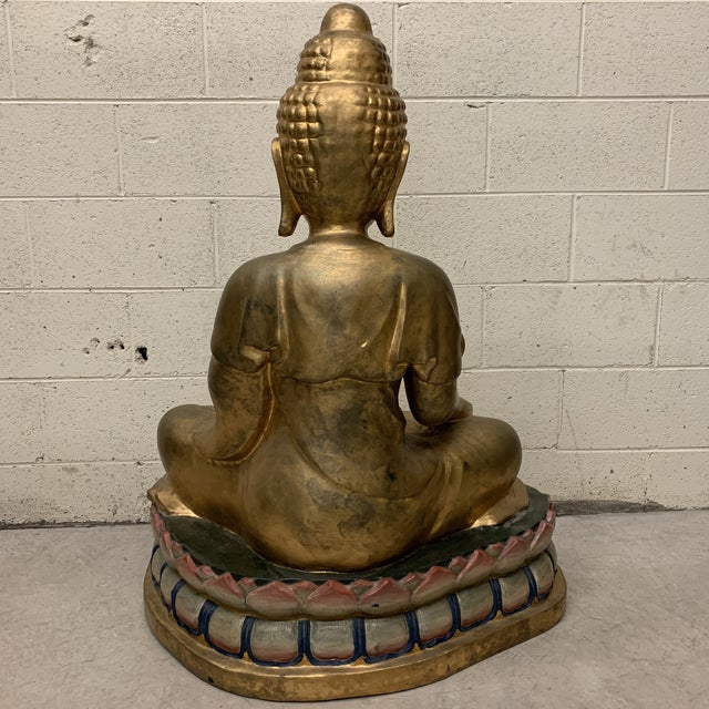 Lifesize Hand Carved Solid Wood Gold Leaf Buddha For Sale In Richmond - Image 6 of 13