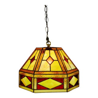 Vintage Tiffany Style Leaded Glass Stained Glass Pendant Light For Sale