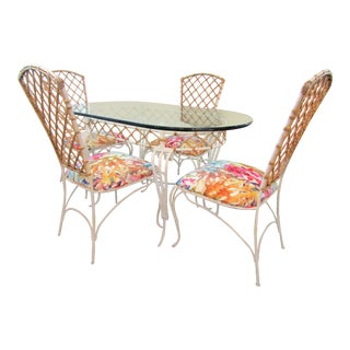 20th Century Boho Chic Iron & Rattan Dining Set - 5 Pieces For Sale
