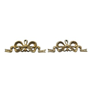 Brass French Provincial Bow Wall Accents - a Pair For Sale