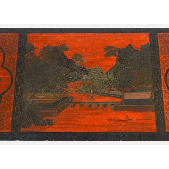 Vintage Chinese Red Chinoiserie Lacquer Low Table For Sale In Tampa - Image 6 of 9
