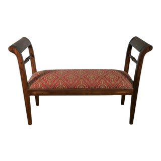 Late 20th Century Upholstered Carved Wood Window Bench Hall Seat For Sale
