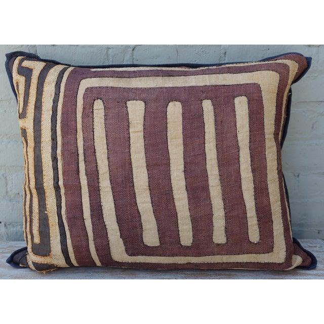 African Large Rectangular African Kuba Cloth Pillow For Sale - Image 3 of 9