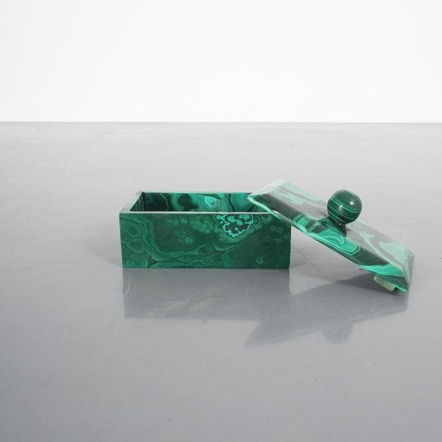 Midcentury malachite stone box, Belgium. Charming box from malachite, not particularly a masterpiece of craftsmanship but...