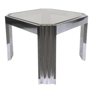 1970s Aluminum and Brass Side Table Attributed to Milo Baughman For Sale