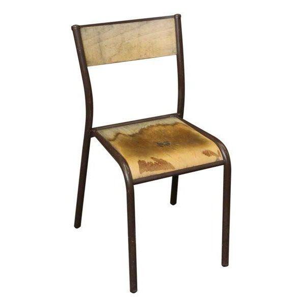 Vintage Brown Metal Wooden School Chair For Image 4 Of