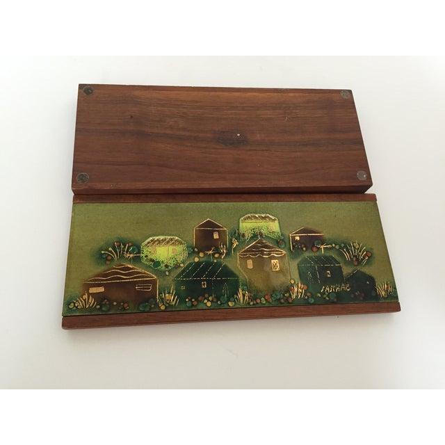 Sascha Brastoff Wood Box with Enamel Cover - Image 3 of 4