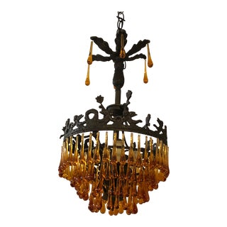 Vintage Multi Tiered Spanish Bronze and Amber Glass Chandelier Pendant For Sale