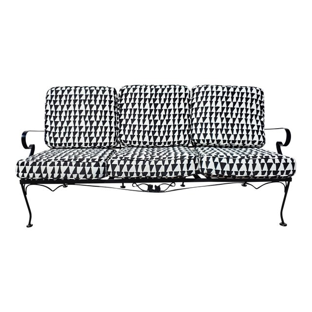 Mid Century Russel Woodard Sofa With Outdoor Upholstery For Sale